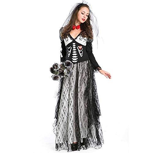 Scary Lady Kostüm - GLXQIJ Womens Kostüm Scary Graveyard Bride Wedding Dress Halloween Kostüm,Black,S
