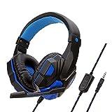 Casque Bluetooth à Réduction de Bruit Over-Ear Audio Stéréo Écouteurs Circum Auriculaire Fil avec Micro Basses Puissantes, Léger, 20h de Jeu, pour PC Smartphone TV (Bleu)