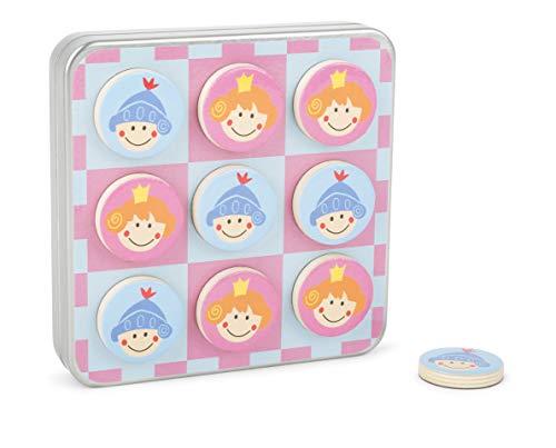 net Tic Tac Toe Ritter und Prinzessin Spiel, in Einer Metallbox mit magnetischen Spielsteinen, ideal zum Mitnehmen und auf Reisen Spielzeug, Mehrfarbig ()