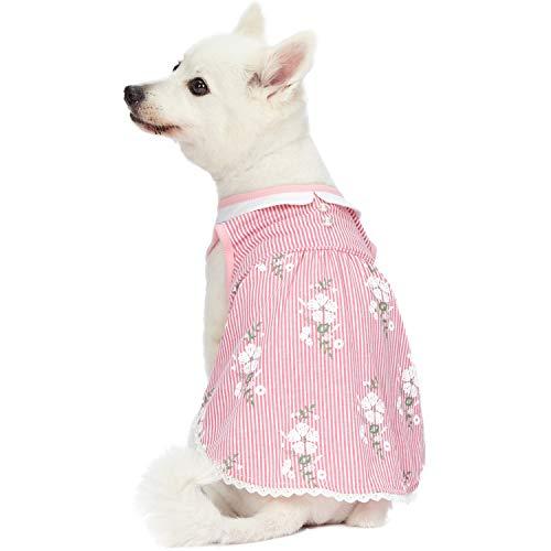 Blueberry Pet Wunderland Ärmelloses Kleid in Pink Gestreift mit Bubikragen, Rückenlänge 41cm, Einzelpackung Bekleidung für Hunde
