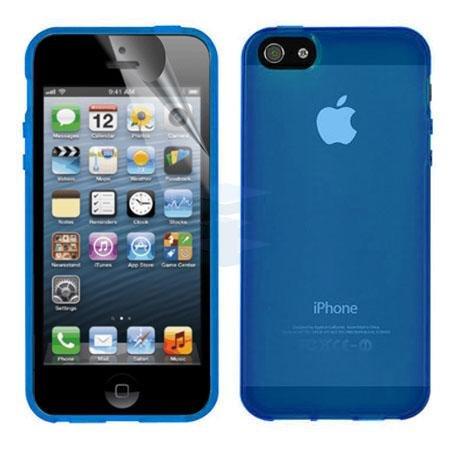 Brillant TM–Résistant Coque en gel silicone TPU pour iPhone 5, 5S, se brillant brillant Coque avec Film Protecteur d'écran Opaque Blue
