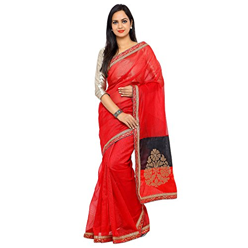 Sarvagny Clothings Saree (Supernet-Red_Red)