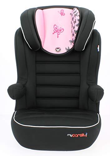 mycarsit Sitzerhöhung mit Rückenlehne, Gruppe 2/3(von 15bis 36kg), Motiv Schmetterling