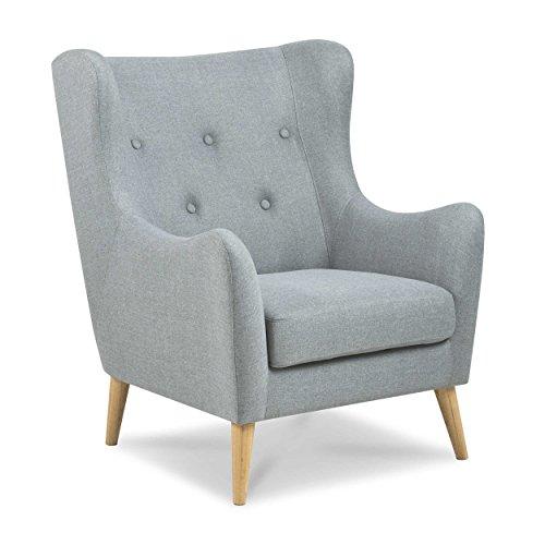 AC Design Furniture Sessel Renta Hellgrau Stoff mit Holzbeinen Natur Retrolook Synoun