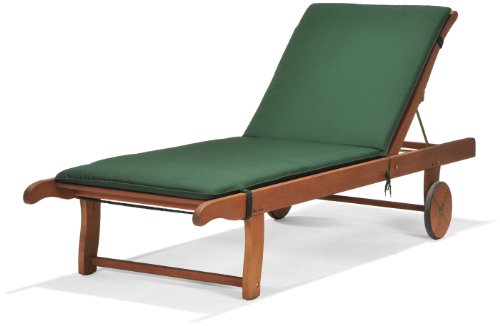 Scancom UK Ltd Chichester FSC Eucalyptus Wood Outdoor Sunlounger With Weather-Tex Cushion, Natural