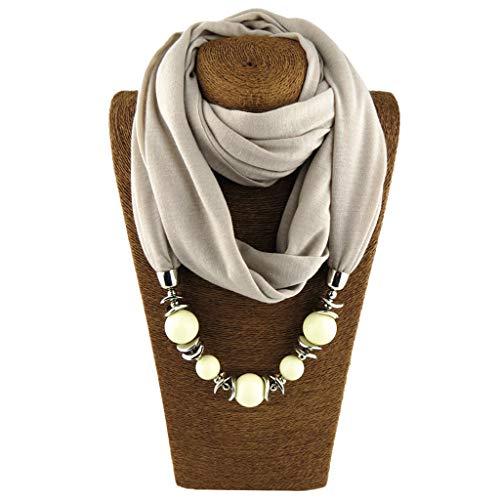 KOFUN Women Scarf, Womens Neckerchief Ring Scarf Necklaces Beads Scialle di Gioielli in Tinta Unita Cachi Chiaro