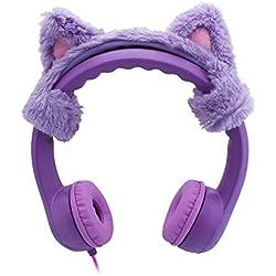 Cat Ear Auriculares de Diadema con Cable para niños,límite de Volumen,Auriculares para niños,Auriculares para niños,Suave,Ajustable Cascos,Resistente,para niños,niñas y niños(Purple-Mice)
