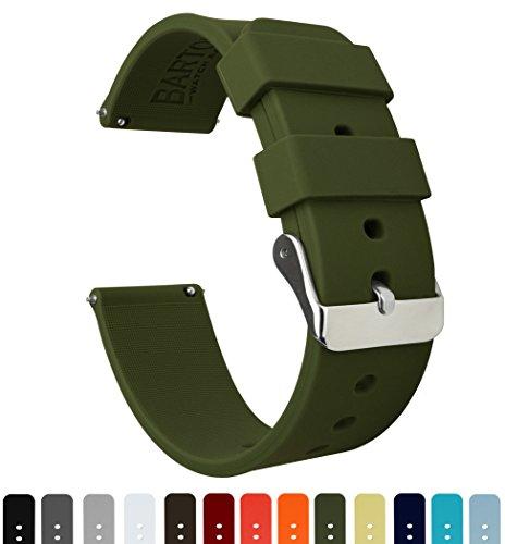 Barton Watch Bands Silikon Schnellverschluß.- Wählen Sie Farbe & Breite (16mm, 18mm, 20mm or 22mm) Gruen 22mmWeiche Uhren Armband