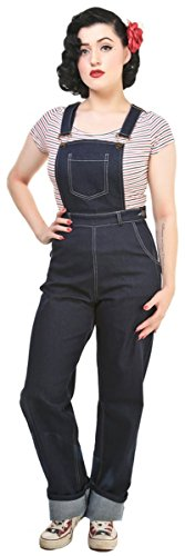 Collectif Damen Latzjeans Pippa High Waisted Latzhose Blau 2XL