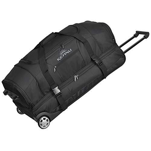 KEANU Reisetrolley Rollen Reisetasche :: XL Trolley Scooter :: 85 Liter Volumen, 2 getrennte Hauptfächer, Wäsche- Schuhfach, Seitentasche, Vordertasche (Solid Black)