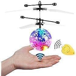 JAMSWALL Bola voladora RC, RC Flying Juguetes, Niños Música Flying Ball, Drone HelicóPtero Bola de Vuelo Built-in Shinning Iluminación LED para Niños,RC Juguete para niños Adolescentes (Transparente)