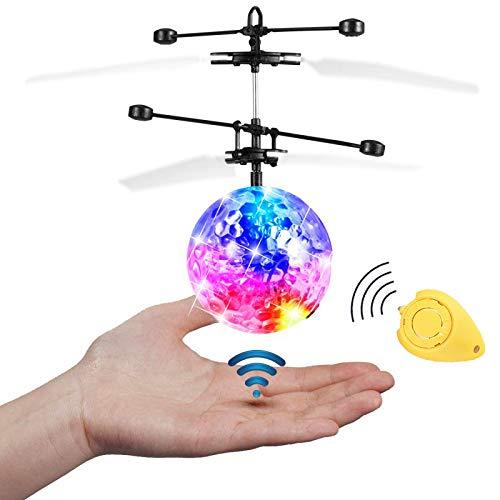 JAMSWALL RC Fliegender Ball, Etpark RC Infrarot Induktionshubschrauber RC Spielzeug Ball mit LED Leuchtung für Kinder (Transparent)