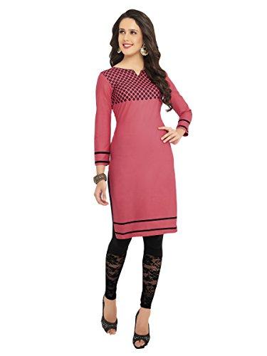 KANHEYAS womens Cotton Kurti(Pink_T1012_Free Size)