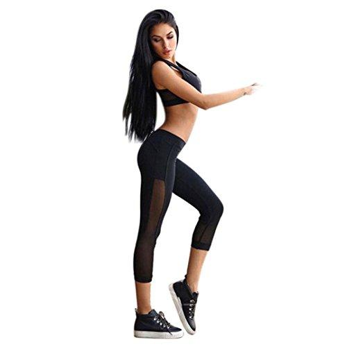 Damen Sporthose ,Sonnena Frauen Skinny Leggings Patchwork Mesh Yoga Leggings Fitness Sport Capri Hosen Schwarz Schnell Trocknend Mesh Yogahosen Fitness Strecth Hose Stretch Workout Hose Casual Hohe Taille Leggings (XL, Schwarz)