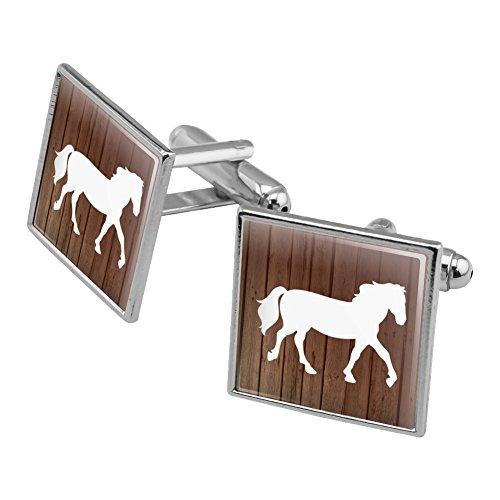 Pferd Silhouette Cowboy Western Manschettenknöpfe, quadratisch Set Silber Farbe