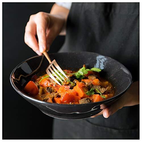 YYF Vaisselle européenne en céramique pour la cuisine - Bol de riz simple occidental 8,5 pouces (Color : Black)