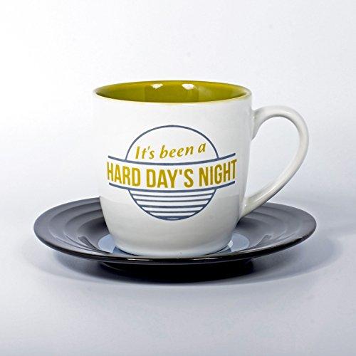 Lyrical Mug - Ensemble-Cadeau de Tasse et Soucoupe Céramique avec Paroles de Chanson Hard Day´s Night - John Lennon & Paul McCartney - Autorisé par Sony/ATV - Thumbs up! - 1001706