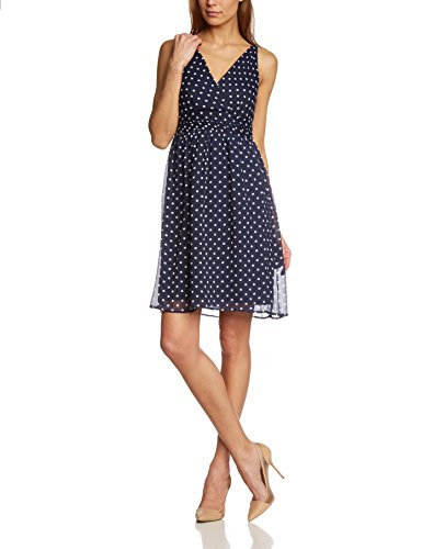 VERO MODA Damen Kleid Vmjosephine Sl Above Knee Dress Noos, Mini, Gr. 40 (Herstellergröße: L), Blau (Black Iris AOP:SNOW WHITE DOTS)