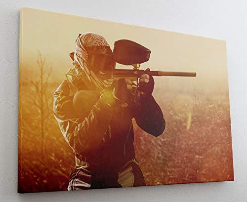 Paintball Markierer Sport Gotcha Leinwand Bild Wandbild Kunstdruck L1266 Größe 100 cm x 70 cm