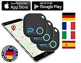 Phantiax 3X Schlüsselfinder Check Schwarz | Keyfinder mit Bluetooth App, GPS Ortung und Bewegungsmelder zum Finden von Schlüsseln oder Handy/Smartphone