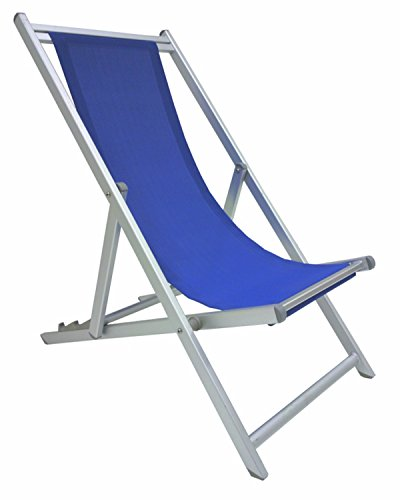 Sedia sdraio pieghevole prendisole blu lusso in alluminio antiruggine per mare campeggio spiaggia stabilimento piscina giardino