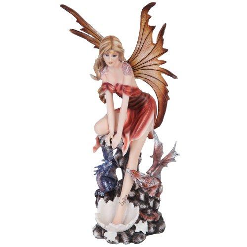 Herbst Fee mit Flügel und Baby Drachen Mystical Statue Figur