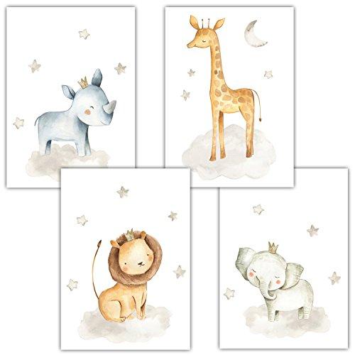 Frechdax 4er Set Kinderzimmer Babyzimmer Poster Bilder Din A4 | Mädchen Junge Deko | Dekoration Kinderzimmer | Waldtiere Safari Skandinavisch (4er Set Nashorn, Giraffe, Elefant, Löwe)