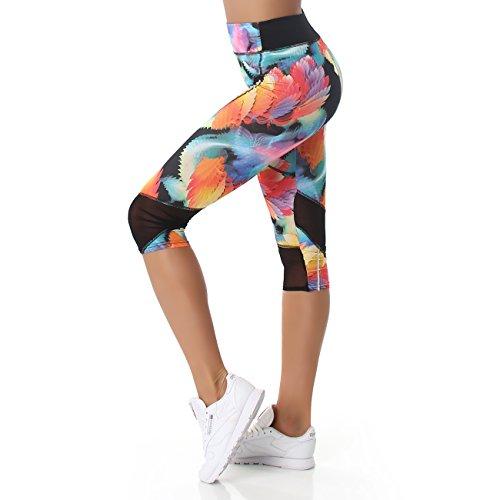 JELA London Damen Leggings im 3/4 Capri Stil, kurze, bunte Sport oder Yoga Hosen in vielen Größen erhältlich, 34-42 Blau P60939 38 bis 42