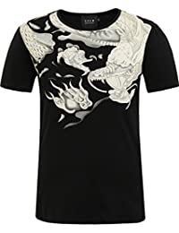 SSLR Men's Chinese Dragon Casual Crew Neck Short Sleeve T Shirt