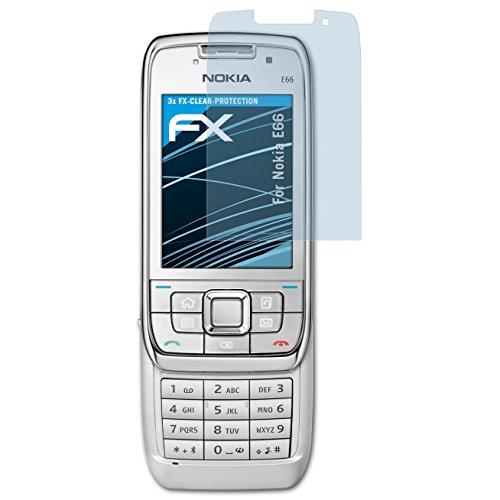 atFolix Schutzfolie kompatibel mit Nokia E66 Folie, ultraklare FX Displayschutzfolie (3X)
