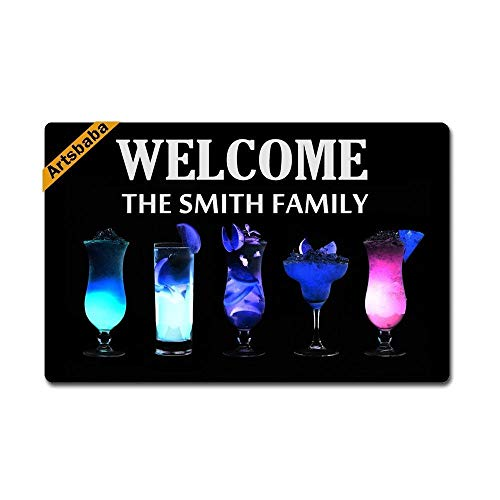 LNYACHI Doormat Cocktail Doormats Monogram Non-Slip Doormat Non-Woven Fabric Floor Mat Indoor Entrance Rug Decor Mat 23.6