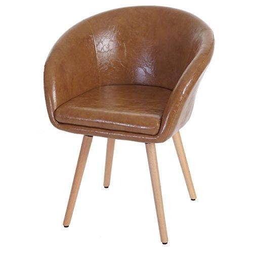 Chaise de salle à manger Malmö T633, fauteuil, design rétro des années 50 ~ similicuir, aspect daim
