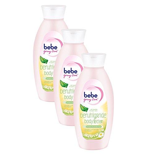 bebe Young Care Beruhigende Body Lotion / Feuchtigkeitspflege mit Aloe Vera und Kamille für trockene und empfindliche Haut / 3 x 400ml