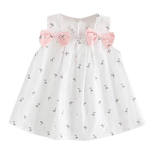 JUTOO Neugeborenes Kleinkind Kind Baby Mädchen Feste Bogen Print Floral Hosenträger Prinzessin Partykleid (Weiß,90)