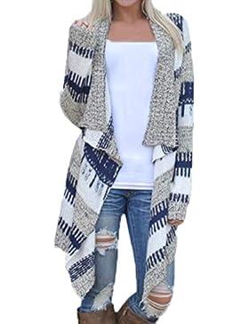 JackenLOVE Primavera Otoño Prendas de Punto Cárdigans Moda Patchwork Irregular Sweater Outerwear Cardigan Top...