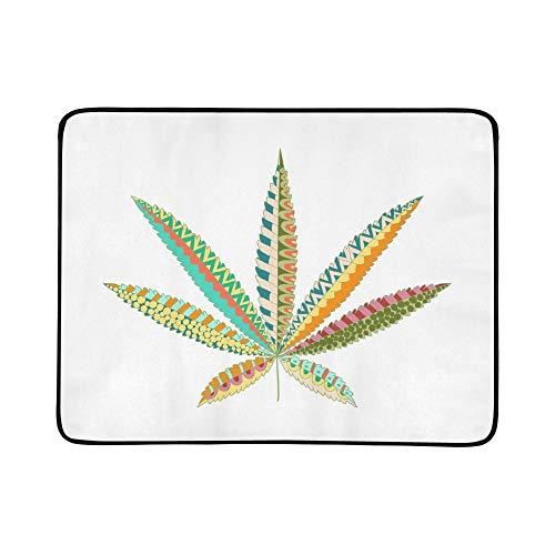 WOCNEMP Hanf Cannabis Blatt Zentangle Stil Marihuana Tragbare Und Faltbare Deckenmatte 60x78 Zoll Handliche Matte Für Camping Picknick Strand Indoor Outdoor Reise -
