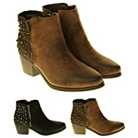 Betsy Womens Synthetic Leather Zip Fastening Stud Design Ankle Boots