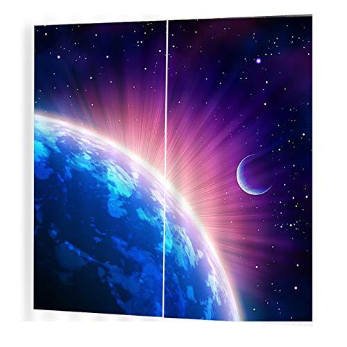 EdBerk74 Glowing Earth 150 * 166 Cortinas Florales Impresión Cortinas de la Ventana Decoración para EL hogar Dormitorio Sala de Estar-Color