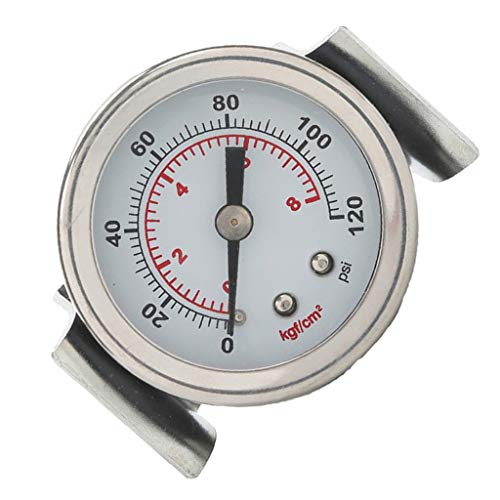 SM SunniMix Edelstahl Manometer mit Anschluß 1/8 Zoll Gewinde hinten für Gas oder Flüssigkeit - 8 kg
