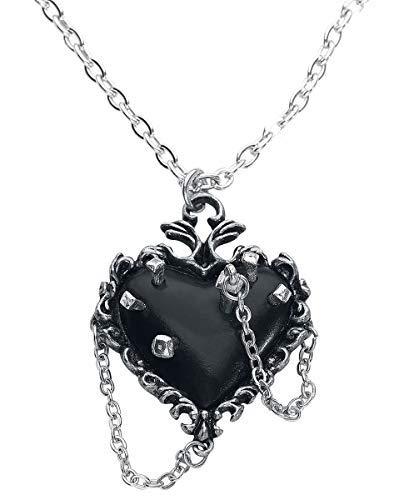 Alchemy Gothic Witches Heart Halskette silberfarben