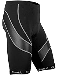 Santic Pantalones Cortos De Ciclismo Para Hombre Para Bicicleta Ciclismo Pantalones de media pantalones 3d Coolmax acolchada, hombre, color Negro - A-black-gray, tamaño XXXL
