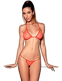 Micro Bikini Transparent Maillot de Bain String en Fine Résille Noir Blanc Rose Orange Vert - Cameltoe