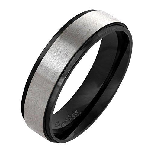 Paula & Fritz gebürsteter Edelstahlring Damen-ring Verlobungs-ring Freundschaftsring Herrenring Partnerring Stepped Edge schwarz 47 (15)