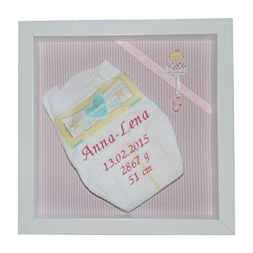Preisvergleich Produktbild Bestickte Pampers Windel im 3-D Rahmen, Windelbild, Geschenk Taufe oder Geburt (rosa)