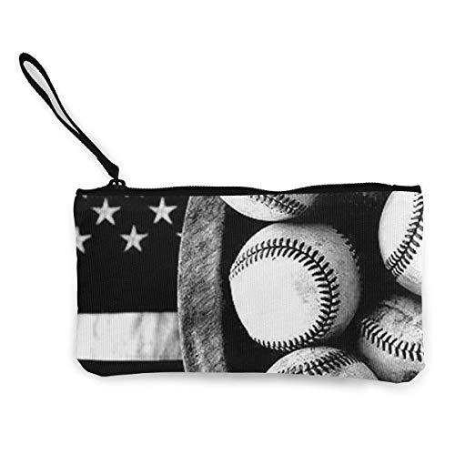 TTmom Damen Leinwand Geldbörse Portemonnaie Geldbeutel, Lady Wristlet Wallet Clutch for Smartphones with Wrist Strap Card Coin Purse Case - American Baseball
