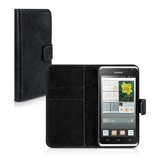 Carlsson Leder Case Hülle für Huawei Ascend Y530 - Wallet Flip Tasche aus Leder mit Standfunktion in Schwarz