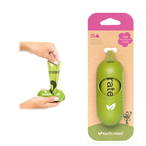 Earth Rated DISPGREEN - Dispensador para Bolsas de residuos para Perros con 15 Bolsas biodegradables de popa y Lavanda