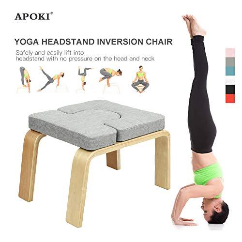 APOKI Yoga Kopfstandhocker,Safe Yoga Kopfstandstuhl,Unterstützt Bis Zu 200 Kg,Yoga Hilft Trainingsstuhl Multifunktionale…