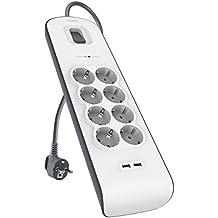 Belkin BSV804vf2M - Regleta de protección contra sobretensiones (8 tomas, 2 puertos USB, 2.4 A) blanco y gris