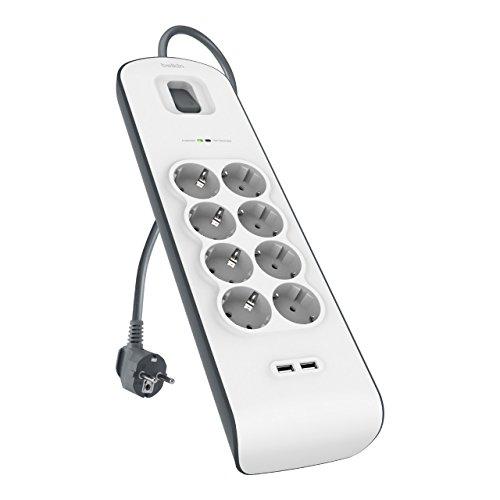 Belkin Surge Plus 8-fach Steckdosenleiste mit Überspannungsschutz (inkl. 2 USB Anschlüsse mit 2,4A, 2m Kabel) weiß/grau